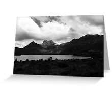 Cradle Mountain in black and white Greeting Card