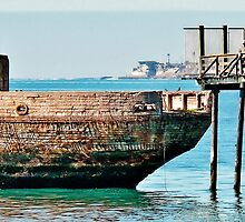 Old Cement Boat at Pier by Martha Sherman