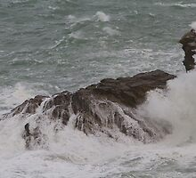 Rough seas in Port Isaac Cornwall by Keith Larby