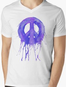 Dripping Peace Sign Mens V-Neck T-Shirt