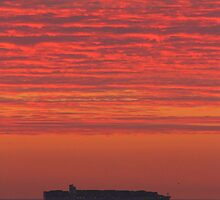 OOCL Container Ship Sunrise by Jonathan Cox
