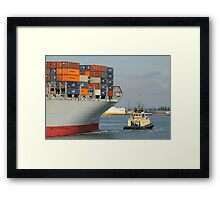 OOCL Rotterdam towed into Southampton Framed Print