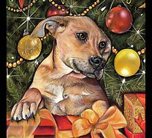 Golden Labrador Christmas Card by Commission Kaz