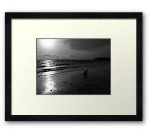 Girl and sunset Framed Print