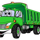 Dump Truck 3 Axle Green Cartoon by Graphxpro