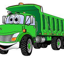 Dump Truck 3 Axle Green Cartoon by Graphxpro