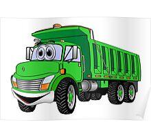 Dump Truck 3 Axle Green Cartoon Poster