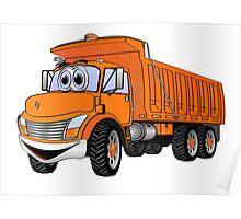 Dump Truck 3 Axle Orange Cartoon Poster