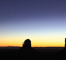 Moonrise at Dawn over Monument Valley by Roupen  Baker