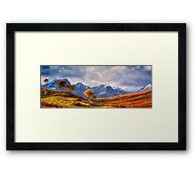 Autumn Snow and Sunlight, Isle of Skye, UK Framed Print