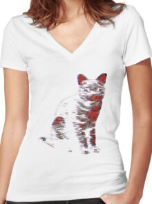 Psychedelic Feline Women's Fitted V-Neck T-Shirt