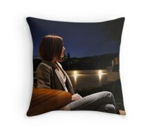 The Girl at the Cafe Throw Pillow