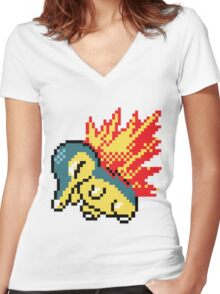 Pokemon - Cyndaquil Sprite Women's Fitted V-Neck T-Shirt