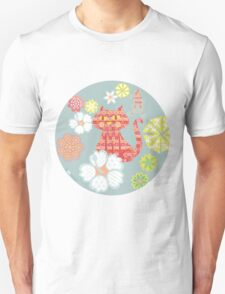 Groovy Cat with flowers  T-Shirt