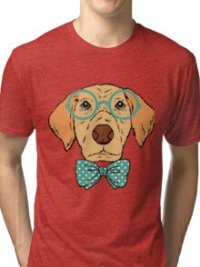 Hipster Dog Design Tri-blend T-Shirt