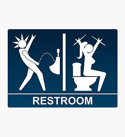 Metal Restroom Sign Photographic Print