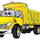 Dump Truck 3 Axle Yellow Cartoon by Graphxpro