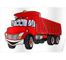 Dump Truck 3 Axle Red Cartoon Poster