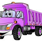 Dump Truck 3 Axle Purple Cartoon by Graphxpro