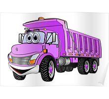Dump Truck 3 Axle Purple Cartoon Poster