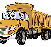 Dump Truck 3 Axle Gold Cartoon by Graphxpro