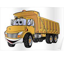 Dump Truck 3 Axle Gold Cartoon Poster