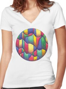 Fish Mandala Full-Color T-Shirt Women's Fitted V-Neck T-Shirt