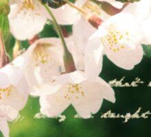 Beautiful Cherry Blossoms Antique Handwritten Letter Overlay Sticker