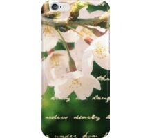 Beautiful Cherry Blossoms Antique Handwritten Letter Overlay iPhone Case/Skin