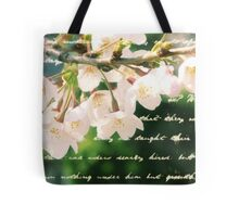 Beautiful Cherry Blossoms Antique Handwritten Letter Overlay Tote Bag