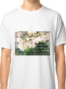 Beautiful Cherry Blossoms Antique Handwritten Letter Overlay Classic T-Shirt