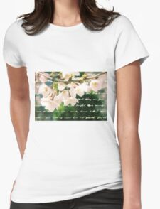 Beautiful Cherry Blossoms Antique Handwritten Letter Overlay Womens Fitted T-Shirt