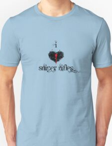 I <3 Sniper Rifles (black & red) T-Shirt
