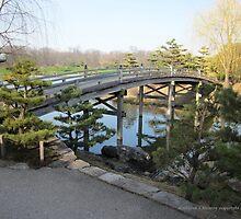 Bridge to Japanese Garden by Kathie  Chicoine