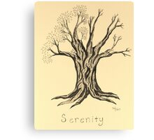A Little More Serenity Tree in Sepia Canvas Print