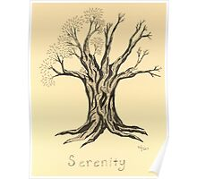 A Little More Serenity Tree in Sepia Poster
