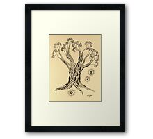 Shining in Serenity Tree in Sepia Framed Print