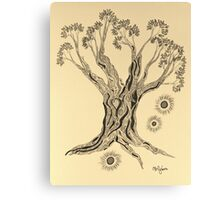 Shining in Serenity Tree in Sepia Canvas Print