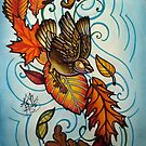 bird in autumn wind with leaves by resonanteye