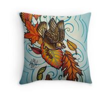 bird in autumn wind with leaves Throw Pillow