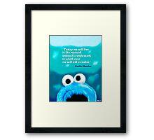 Cookie Monster Motivational Print Framed Print