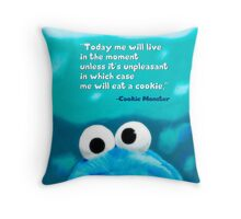Cookie Monster Motivational Print Throw Pillow