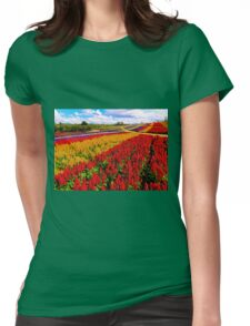Colorful Plumed Cockscomb Lavender Flower Field Womens Fitted T-Shirt