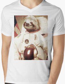 Astronaut Sloth Mens V-Neck T-Shirt