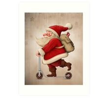 Santa Claus and the Push scooter Art Print