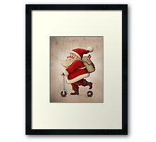 Santa Claus and the Push scooter Framed Print