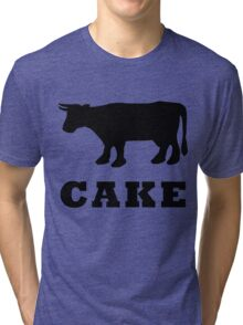 BEEF CAKE WITH COW Tri-blend T-Shirt
