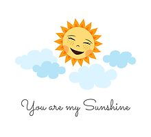 Cute laughing sun with blue clouds - you are my sunshine by MheaDesign