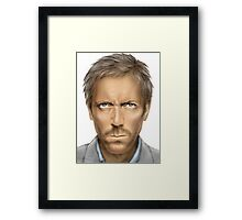 Hugh Laurie - House original art by Dori Hartley Framed Print