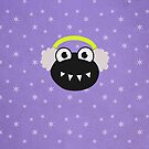 Cute Cartoon Bug Earflaps Purple Winter by Boriana Giormova